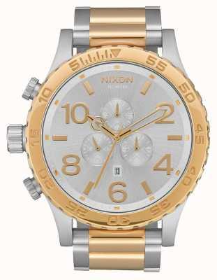 Nixon 51-30 chrono | argent / or | bracelet bicolore | cadran argenté A083-1921-00