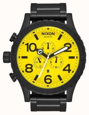 Nixon 51-30 chrono | tout noir / jaune | bracelet en acier ip noir | cadran jaune A083-3132-00
