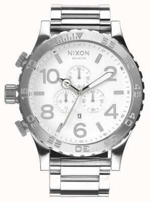 Nixon 51-30 chrono | poli / blanc | bracelet en acier inoxydable | cadran blanc A083-488-00