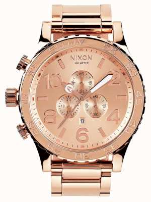 Nixon 51-30 chrono | tout en or rose | bracelet ip or rose | cadran en or rose A083-897-00