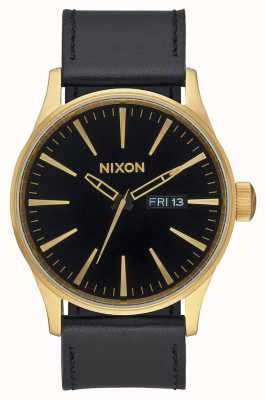 Nixon Cuir Sentry | or / noir | bracelet en cuir noir cadran noir A105-513-00