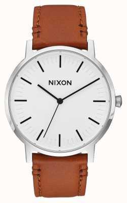 Nixon Cuir Porter | rayon de soleil blanc / selle | bracelet en cuir marron | cadran blanc A1058-2442-00
