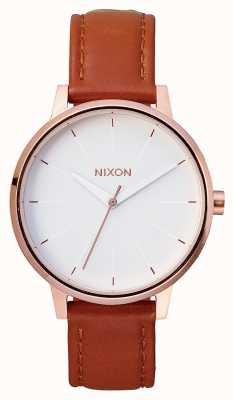 Nixon Cuir Kensington | or rose / blanc | bracelet en cuir marron | cadran blanc A108-1045-00