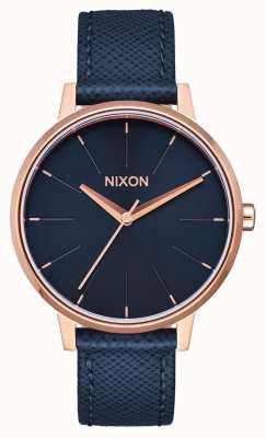 Nixon Cuir Kensington | bleu marine / or rose | bracelet en cuir bleu | cadran bleu A108-2195-00