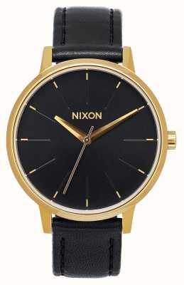 Nixon Cuir Kensington | or / noir | bracelet en cuir noir | cadran noir A108-513-00