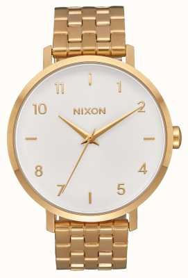 Nixon Flèche | tout or / blanc | bracelet en acier ip or | cadran blanc A1090-504-00