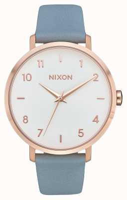 Nixon Cuir de flèche | or rose / bleu | bracelet en cuir bleu | cadran blanc A1091-2704-00