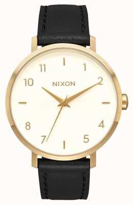 Nixon Cuir de flèche | or / crème / noir | bracelet en cuir noir | cadran crème A1091-2769-00