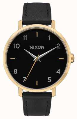 Nixon Cuir de flèche   or / noir   bracelet en cuir noir   cadran noir A1091-513-00