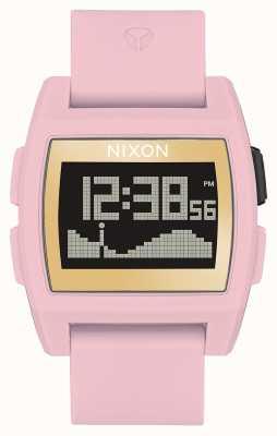 Nixon Marée de base | rose tendre / or / g | numérique | bracelet en silicone rose A1104-2773-00