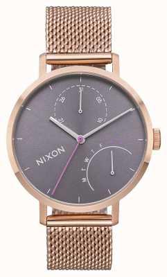 Nixon Embrayage   tout or rose / gris   maille en acier ip or rose   cadran gris A1166-2618-00