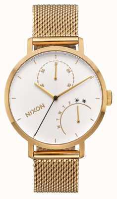 Nixon Embrayage   tout or / blanc   bracelet en maille ip or   cadran blanc A1166-504-00