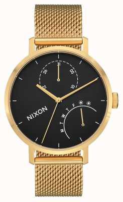Nixon Embrayage | or / noir | maille en acier ip or | cadran noir A1166-513-00