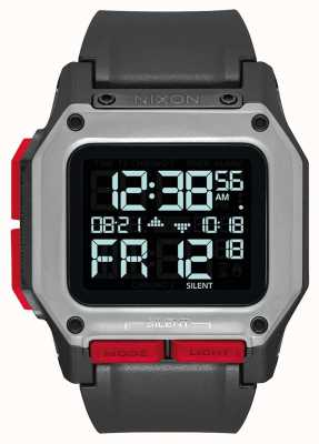 Nixon Regulus | noir / rouge | numérique | bracelet en tpu noir A1180-008-00