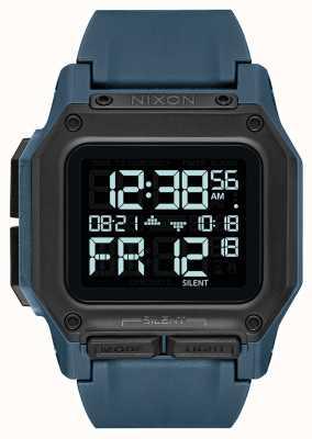 Nixon Regulus | ardoise noire | numérique | bracelet en tpu bleu A1180-2889-00