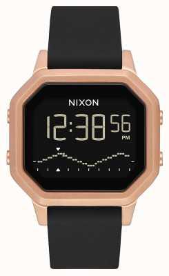 Nixon Siren ss | or rose / noir | numérique | bracelet en silicone noir A1211-1098-00