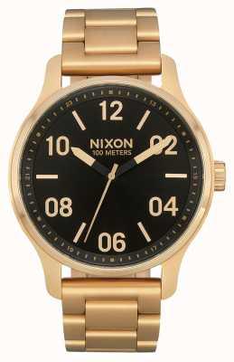 Nixon Patrouille | or / noir | bracelet en acier ip or | cadran noir A1242-513-00