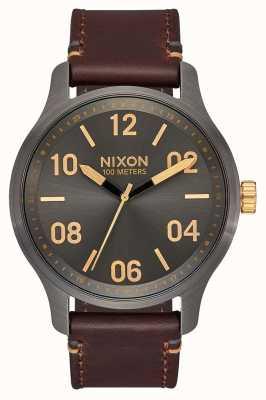 Nixon Patrouille en cuir | bronze / or | bracelet en cuir marron | cadran bronze A1243-595-00