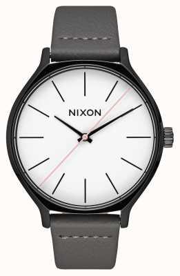 Nixon Cuir de clique | noir / gris | bracelet en cuir gris | cadran blanc A1250-007-00