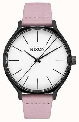 Nixon Cuir de clique   noir / corail   bracelet en cuir rose   cadran blanc A1250-3318-00