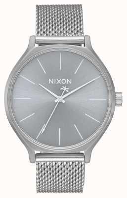 Nixon Clique milanese | tout argent | bracelet en maille d'acier inoxydable | cadran argenté A1289-1920-00