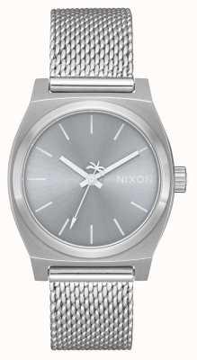 Nixon Guichet moyen milanais   tout argent   maille en acier inoxydable   cadran argenté A1290-1920-00