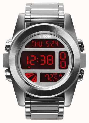 Nixon Unité ss | argent / rouge | numérique | bracelet en acier inoxydable A360-1263-00