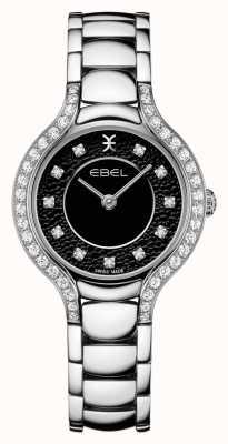 EBEL Béluga féminin | bracelet en acier inoxydable | cadran noir | ensemble de diamants 1216466
