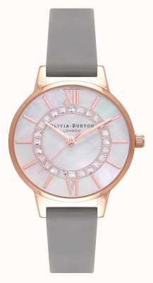 Olivia Burton | pays des merveilles | bracelet en cuir gris midi | cadran en nacre | OB16WD92