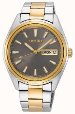 Seiko Bracelet homme en acier bicolore | cadran noir SUR348P1