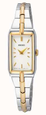 Seiko Bracelet femme en acier bicolore | cadran blanc SWR044J8