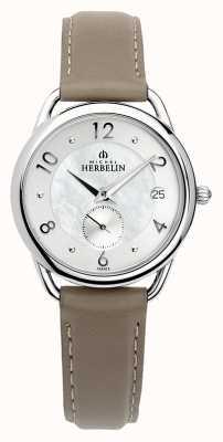 Michel Herbelin Équinoxe | bracelet en cuir marron pour femme | nacre 18397/29GR