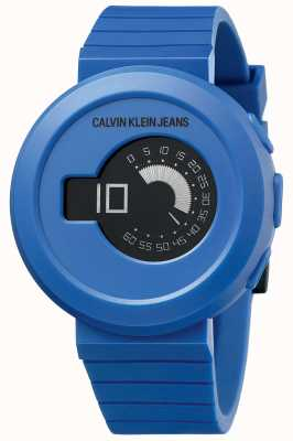Calvin Klein Digirock pour hommes   bracelet en silicone bleu   cadran noir KAN51YV1