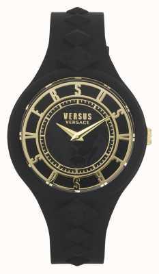 Versus Versace L'île du feu des femmes | bracelet en silicone noir | cadran noir VSP1R1020