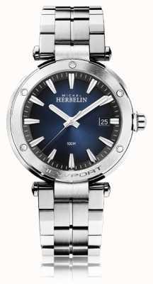 Michel Herbelin Newport pour hommes | bracelet en acier inoxydable | cadran bleu 12288/B15