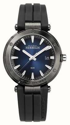 Michel Herbelin Newport pour hommes | bracelet en caoutchouc noir | cadran bleu 12288/G15CA