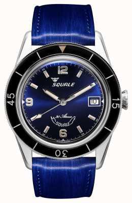 Squale 60 ans bleu | sub-39 | bracelet en cuir bleu | cadran bleu SUB39BL-CINSQ60BL