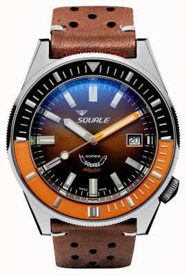 Squale Cuir chocolat matic | automatique | cadran brun soleil | bracelet en cuir marron MATICXSD.PTS-CINU1565GD