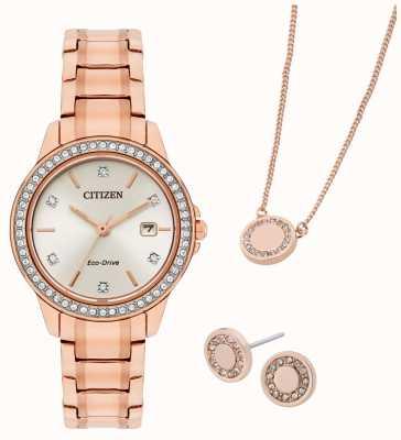 Citizen Coffret cadeau montre et bijoux plaqués or rose Eco-Drive FE1173-52A