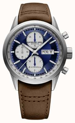 Raymond Weil Freelancer | chrono | automatique | cadran bleu | cuir marron 7732-TIC-50421
