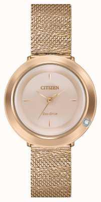 Citizen Ambiluna pour femmes | bracelet en maille or rose | cadran en nacre EM0643-50X