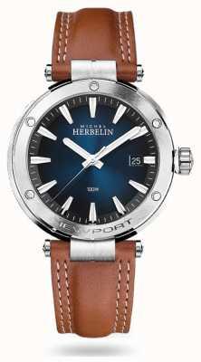 Michel Herbelin Newport | bracelet en cuir marron | cadran bleu 12288/15GON