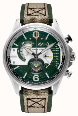 AVI-8 Hawker harrier ii | chronographe | cadran vert | bracelet nato beige en cuir vert AV-4056-02