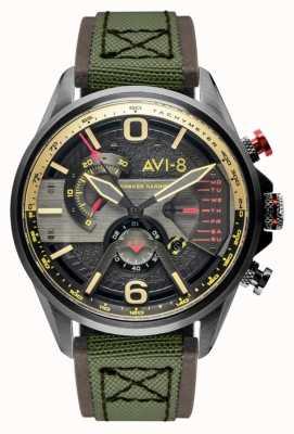 AVI-8 Hawker harrier ii | chronographe | cadran gris | bracelet nato vert en cuir marron AV-4056-03