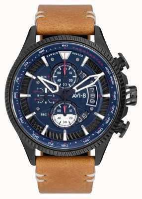 AVI-8 Hawker hunter | chronographe | cadran bleu | bracelet en cuir marron AV-4064-01