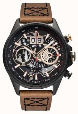 AVI-8 Hawker harrier ii | chronographe | bracelet en cuir marron AV-4065-03