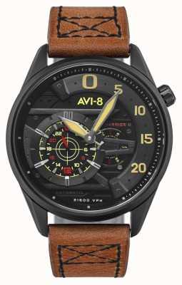 AVI-8 Hawker harrier ii - as de pique | automatique | bracelet en cuir marron AV-4070-04