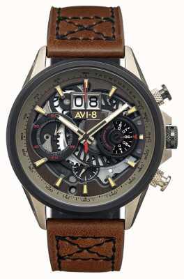 AVI-8 Hawker harrier ii | chronographe | bracelet en cuir marron AV-4065-06