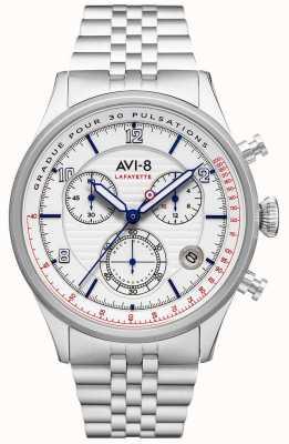 AVI-8 Flyboy lafayette | chronographe | cadran blanc | bracelet en acier inoxydable AV-4076-11