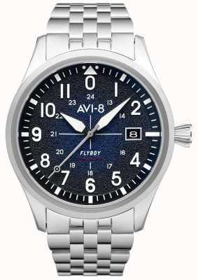 AVI-8 Flyboy | automatique | cadran bleu | bracelet en acier inoxydable AV-4075-22